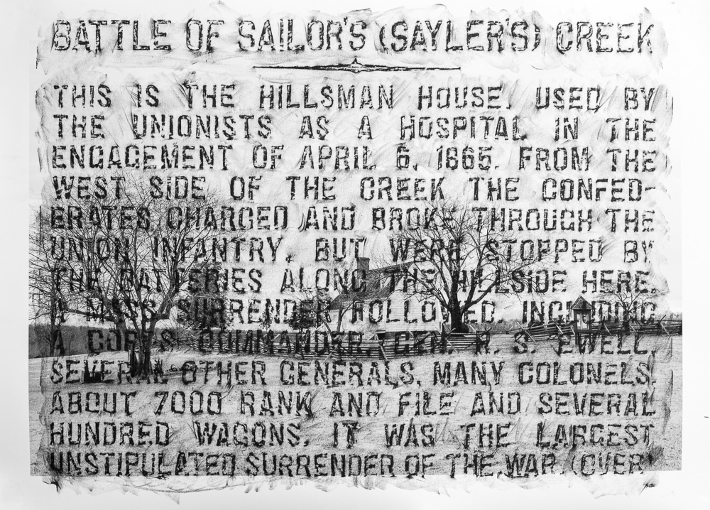 Battle of Sailor's (Saylers) Creek, M-26, obverse, 2015, crayon over archival pigment print, 32 x 44 inches