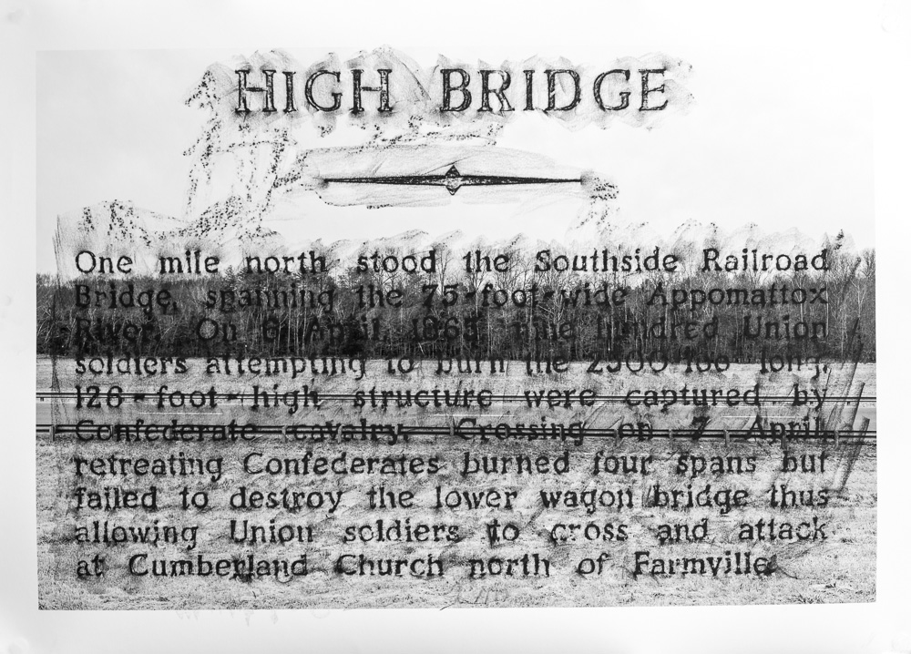 High Bridge, F-60, 2015, crayon over archival pigment print, 32 x 44 inches